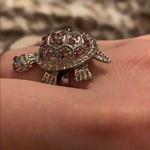 Turtle with pink rhinestone ring - adjustable